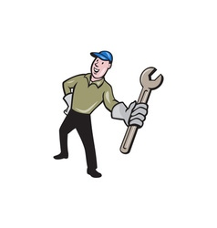 Mechanic Presenting Wrench Cartoon vector image vector image