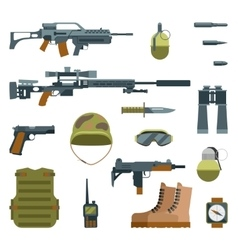 Military armor and weapon guns icons flat set vector