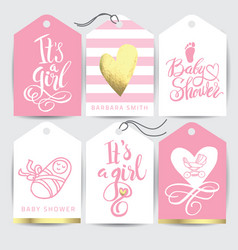 pink sticker set it s a girl calligraphy vector image