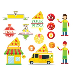Pizza Shop Graphic Elements vector image vector image