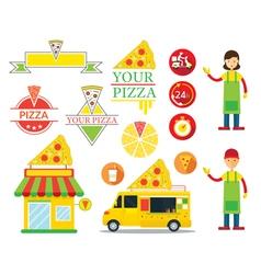 Pizza shop graphic elements vector