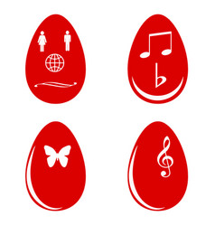 Red easter eggs white white shapes vector
