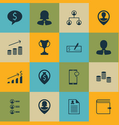 Set of 16 human resources icons includes vector