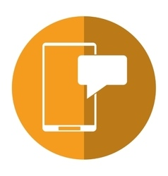smartphone sms talking bubble speak shadow vector image