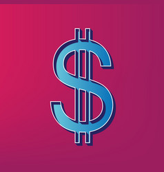 United states dollar sign blue 3d printed vector
