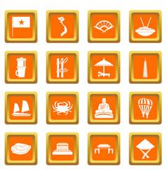 Vietnam travel icons set orange vector