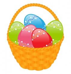 yellow basket with colored eggs vector image vector image