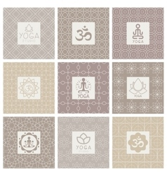 Yoga Icons on Ornament Background vector image vector image