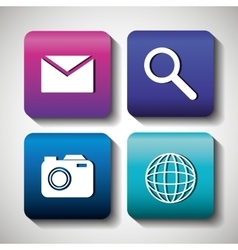 set social media design isolated vector image