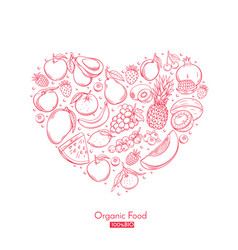 Poster heart composition with hand drawn fruits vector