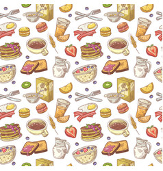 Hand drawn breakfast seamless pattern with bakery vector