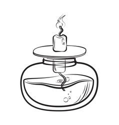 Sketch of spirit lamp chemical burner vector