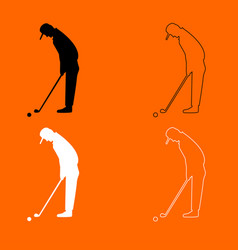 Golfer black and white set icon vector