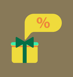 Flat icon of gift box discount vector