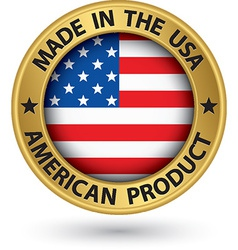 Made in the USA american product gold label with vector image