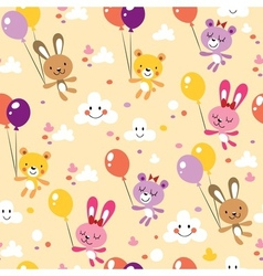 Bunnies and bears cute seamless pattern vector