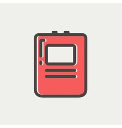 Heart defibrillator thin line icon vector
