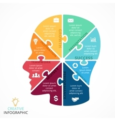 Puzzle human face infographic cycle vector