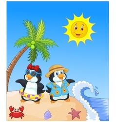 Cute cartoon penguin in summer holiday vector