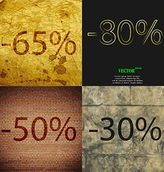 80 50 30 icon set of percent discount on abstract vector