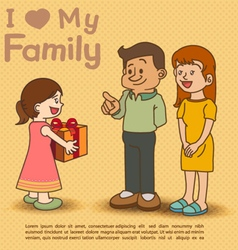 Kids giving gift to dad and mom vector