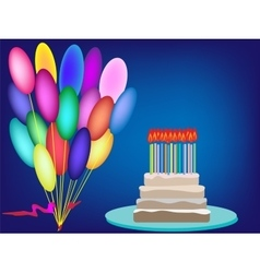 Cake birthday candles cream background vector