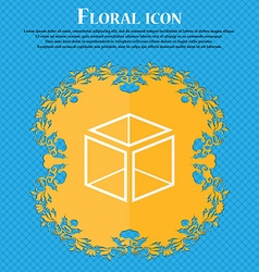3d cube icon sign floral flat design on a blue vector