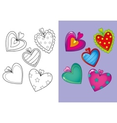 Coloring book of set different hearts vector