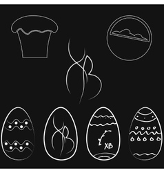 Set of easter eggs in dark colors vector