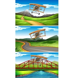 Three scenes of airplanes flying in sky vector