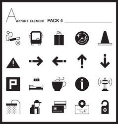 Airport element line icon set 4mono graph pack vector