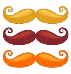 Set of mustache of different colors vector