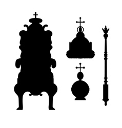 A scepter power crown and throne vector