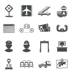 Airport black icons set vector
