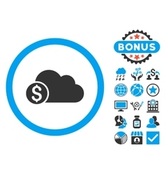 Banking Cloud Flat Icon with Bonus vector image vector image