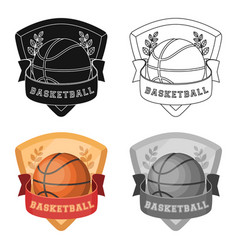 basketball emblembasketball single icon in vector image