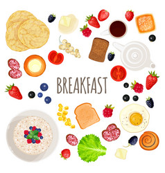 breakfast food and drink collection isolated vector image vector image