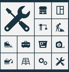 Building icons set collection of builder paint vector