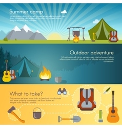 Camping banners set vector