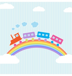 Colorful train on rainbow vector image vector image