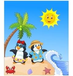 Cute cartoon penguin in summer holiday vector image