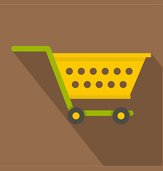 Empty yellow supermarket cart icon flat style vector