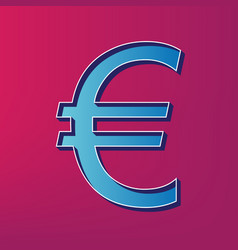 Euro sign blue 3d printed icon on magenta vector