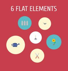 Flat icons flowerpot watering can wheelbarrow vector