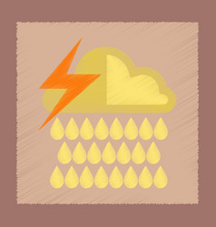 flat shading style icon thunderstorm rain cloud vector image vector image