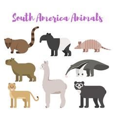 Flat style set animals of south america vector