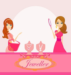 Girls and jewelry vector image vector image