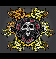 Halloween skull glock pistols fire flames design vector