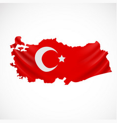 Hanging turkey flag in form of map republic of vector