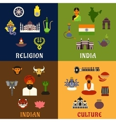 Indian culture religion and national icons vector image vector image